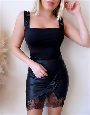 ESNEK MİKRO KUMAŞ BÜSTİYER VE SUNİ DERİ ETEK TAKIM BLACK TOP AND LEATHER SKIRT SET GD-017-SİYAH