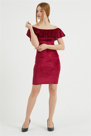 VOLANLI STRAPLEZ GÖĞÜS DEKOLTELİ BORDO KADİFE MİNİ ELBİSE RED VELVET MINI DRESS EMR-065-BORDO